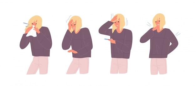 Комплект нездоровой женщины с симптомами гриппа vector плоская иллюстрация. женщина с головной болью и жесткостью тела, измеряя температуру, дует нос изолированный на белизне. девушка с респираторным заболеванием