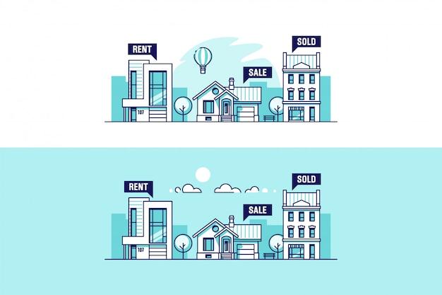 Набор городских и дачных домов. понятие недвижимости. иллюстрации.