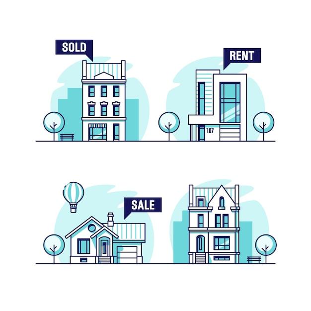 都市と郊外の家のセット。不動産のコンセプト。