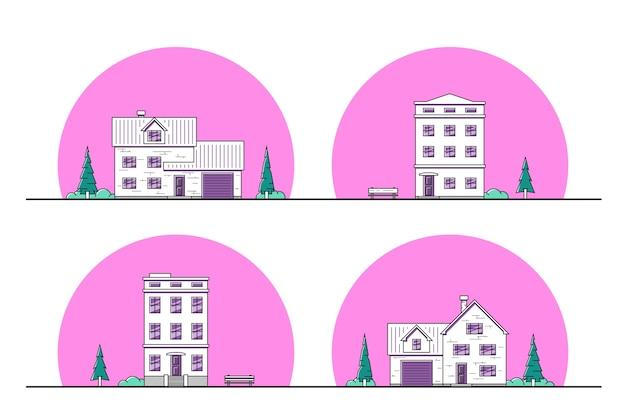 도시와 교외 주거 주택, 얇은 라인 아이콘의 집합입니다.