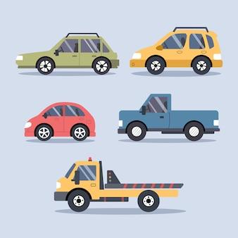 Набор городских городских автомобилей и транспортных средств