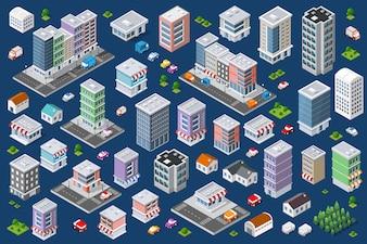 Set of urban flat buildings