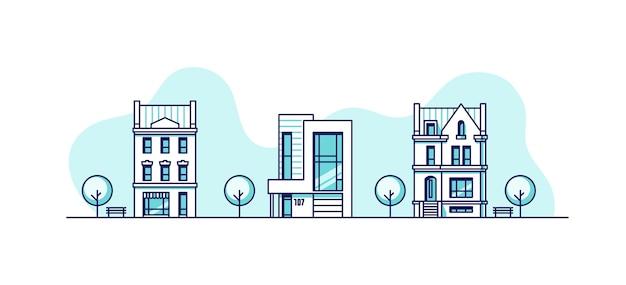 도시 주택 부동산 비즈니스 컨셉 일러스트 세트