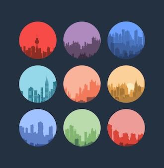 フラットスタイルの都市景観のセット。生地、壁紙、さまざまな商品やアイテムのパターンの装飾として、またはデザインや創造性のために使用できます。
