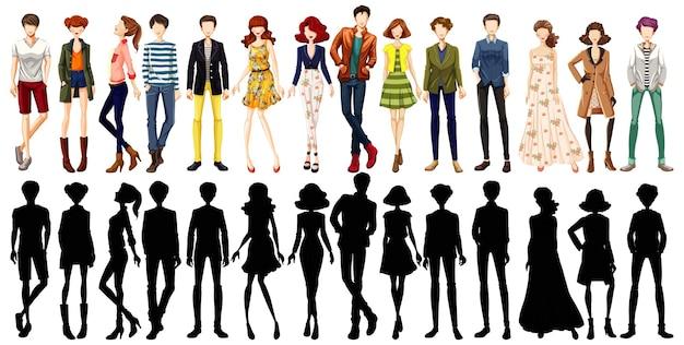 都市部の人々のキャラクターとそのシルエットのセット