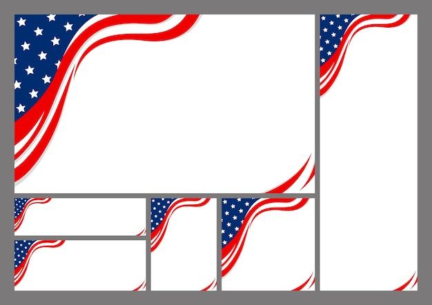 Набор абстрактного фона сша американского флага с копией пространства