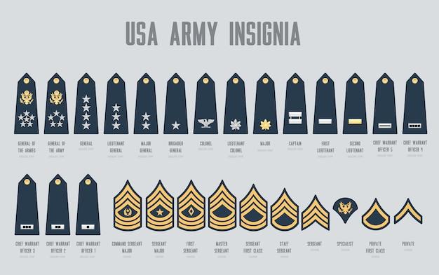 Набор знаков различия армии сша, изолированные на сером