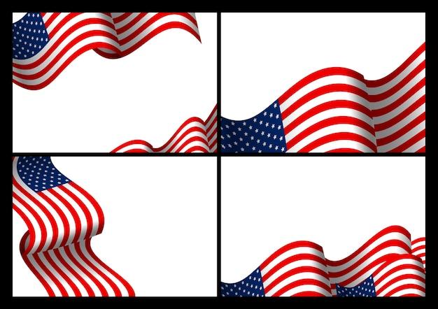 Набор из сша баннер фон волны американского флага с копией пространства