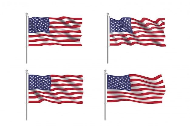 Набор флаг сша. коллекция американских флагов, движущихся на ветру в векторе