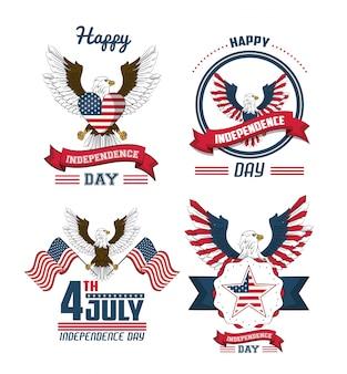 미국 독립 기념일 카드 세트