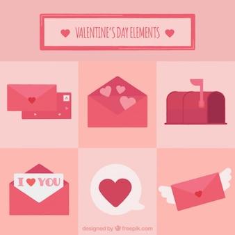 ピンクバレンタイン要素のセット