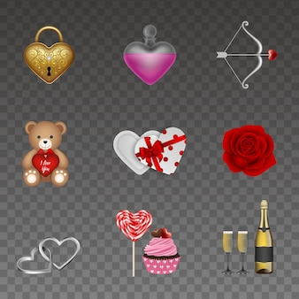 バレンタイン要素のセット