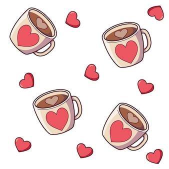 ハートのバレンタインマグカップのセット