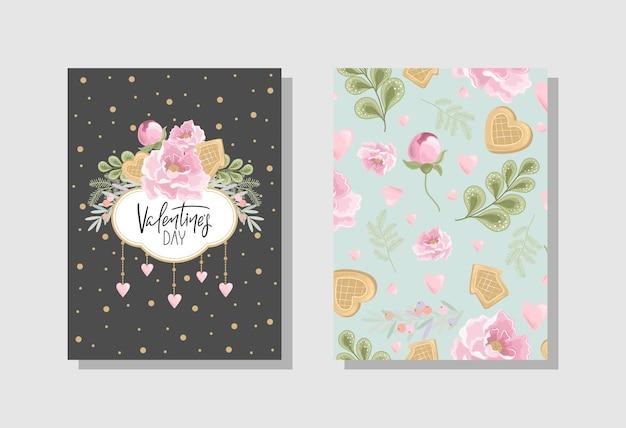 꽃, 과자, 가지, 낭만적 인 요소와 필기 텍스트 발렌타인 인사말 카드의 집합입니다.