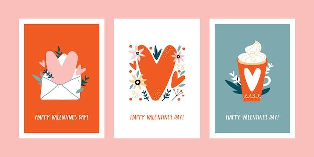 手描きの装飾的な要素を持つバレンタインデーのグリーティングカードのセットです。