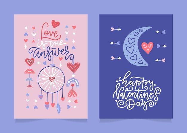 Набор поздравительных открыток на день святого валентина с рукописными поздравительными буквами в современном стиле бохо.