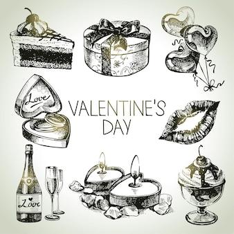 Набор дня святого валентина. рисованные иллюстрации