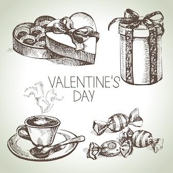 バレンタインデーのセットです。手描きイラスト