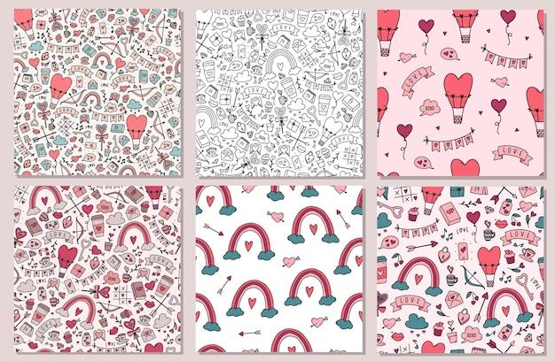 バレンタインデーのシームレスなパターンのセット