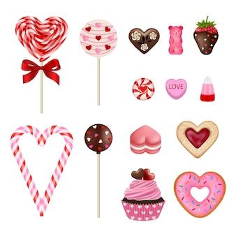 バレンタインデーのお菓子のセットです。孤立したバレンタインキャンディー、クッキー、ケーキ Premiumベクター