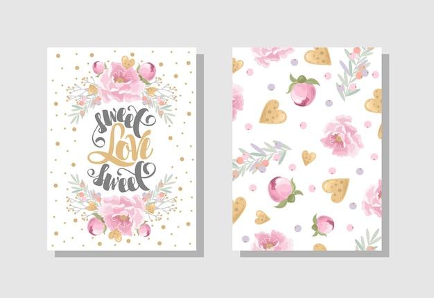 꽃 과자 분기 낭만적인 요소와 필기 텍스트 발렌타인 데이 인사말 카드 세트