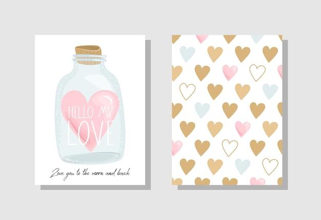 花とバレンタインデーのグリーティングカードのセット