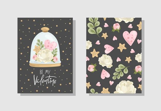 꽃과 함께 발렌타인 데이 인사말 카드 세트