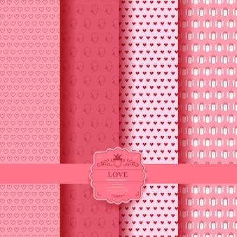 Набор день святого валентина, розовый романтический фон с сердечками. коллекция упаковочной бумаги и подарочных пакетов. задний план