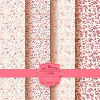 발렌타인 데이, 마음으로 핑크 로맨틱 완벽 한 패턴의 집합입니다. 포장지 및 선물 가방 컬렉션.