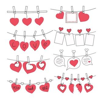 Набор валентинок на прищепках. иллюстрация.