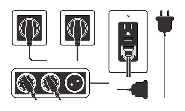 Набор вариаций электрические розетки силуэт иллюстрации