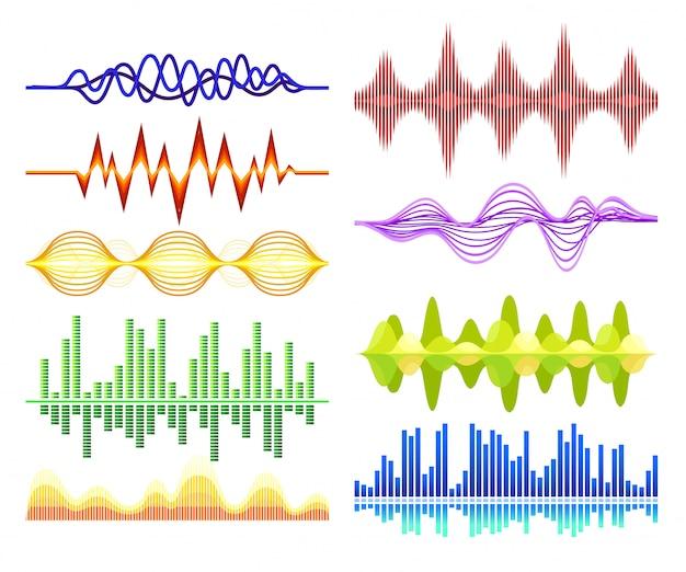 さまざまな抽象的な音楽の波のセット。音の振動。デジタルイコライザー。オーディオテクノロジー