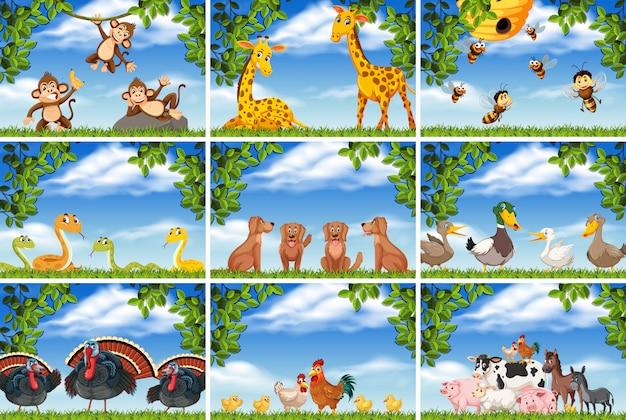 자연 장면에서 다양 한 동물 세트