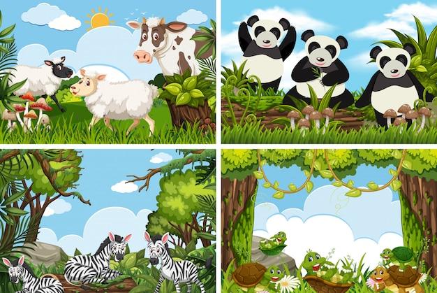 自然シーンのさまざまな動物のセット
