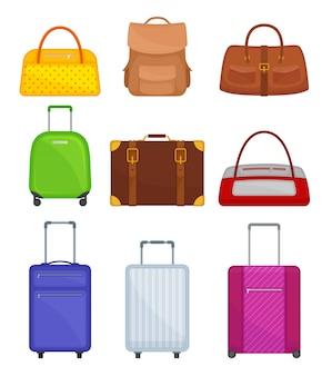 各種バッグのセット。車輪のスーツケース、女性のハンドバッグ、バックパック、ダッフルバッグを旅行します。旅行者の荷物