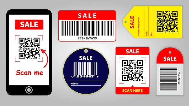 Набор различных штрих-кодов или набор упаковочных этикеток, штрих-код или qr-коды