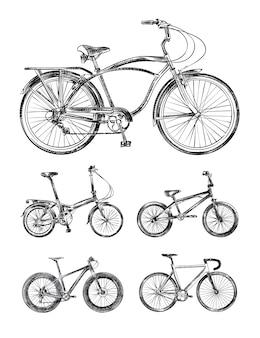 Набор различных велосипедов, велосипеды рисованной эскизы