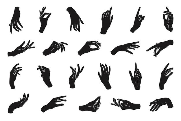 다른 제스처의 다양 한 검은 실루엣 여자 손의 집합입니다.