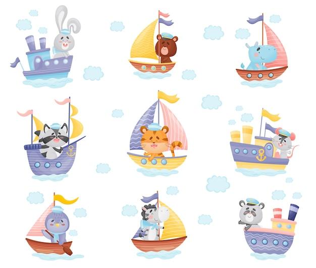 船長の漫画の動物と様々なボートのセット