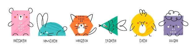 Набор различных ярких геометрических фигур в виде милых животных. различные геометрические формы. забавные рисованные персонажи для детей.