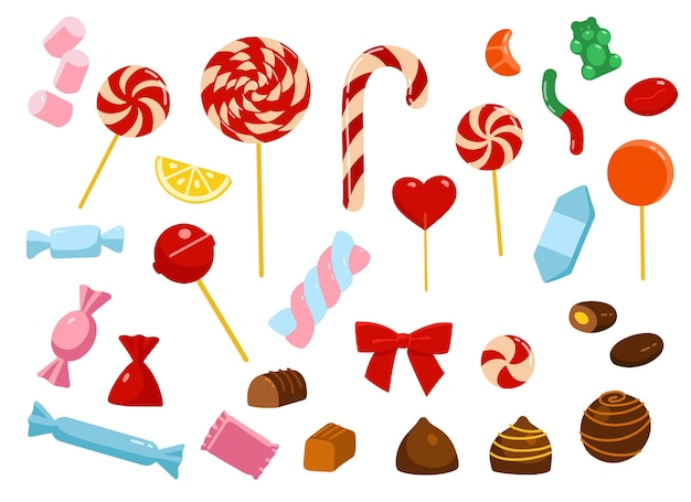 様々なキャンディーのセット。クリスマスのお菓子。漫画のスタイル。