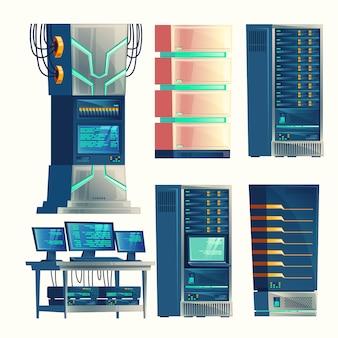 Set of various cartoon control room, server racks, database, data center.