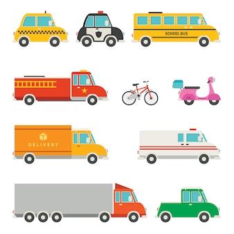 다양 한 만화 차량 세트