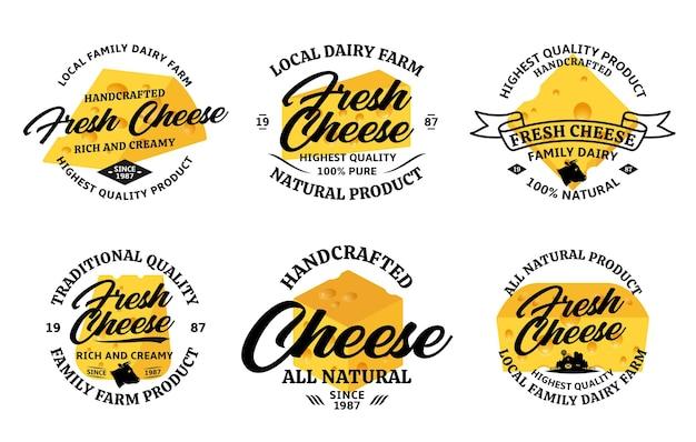 다양한 치즈 빈티지 배지 세트