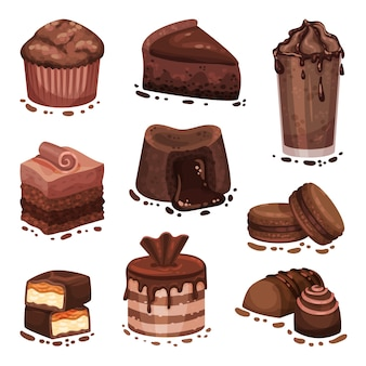 さまざまなチョコレートデザートのセット