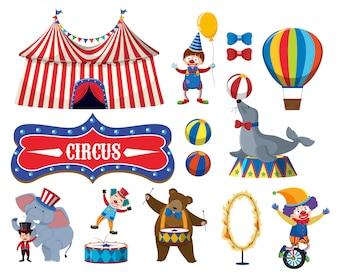 Набор различных объектов цирка