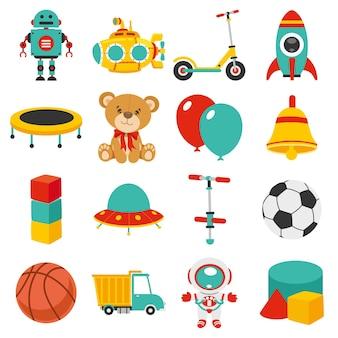 다양 한 다채로운 장난감 세트
