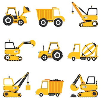 さまざまな建設機械のセット