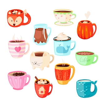 ドリンク、紅茶、コーヒーとさまざまなカップのセット。マシュマロ、冬の温かい飲み物、熱いエスプレッソカップのココア。家庭用のかわいいマグカップや冬のカプチーノ、ラテカップのホットチョコレート。