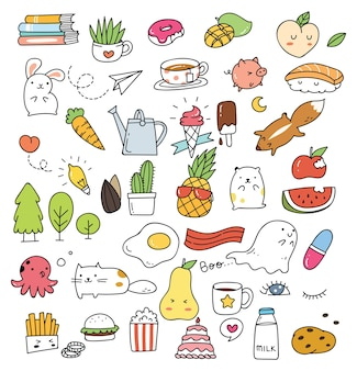 Set of various cute icon in doodle style isolated on white background